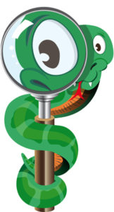 cartoon: snake with magnifying glass