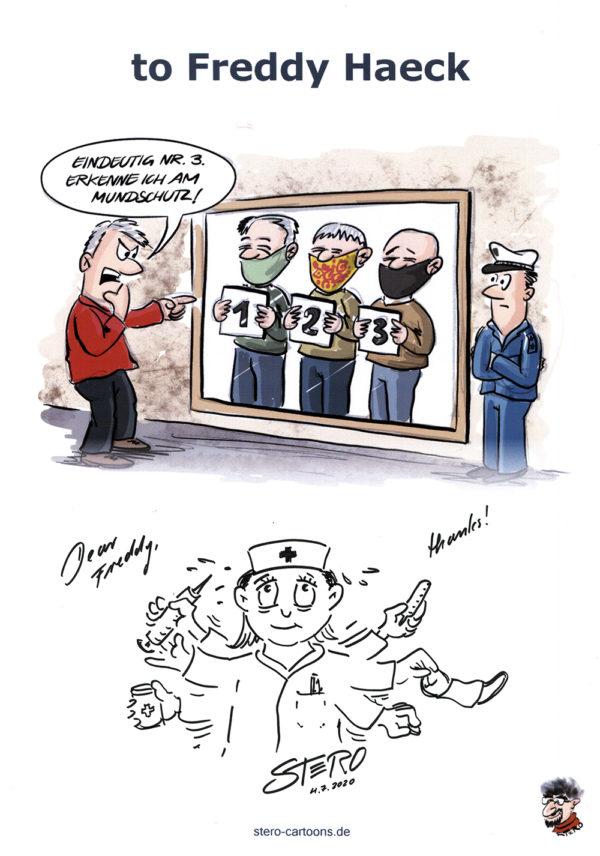 Druck eines Cartoons mit Autogramm/Signatur von STERO und einer kleinen originalen Zeichnung nach Wunsch