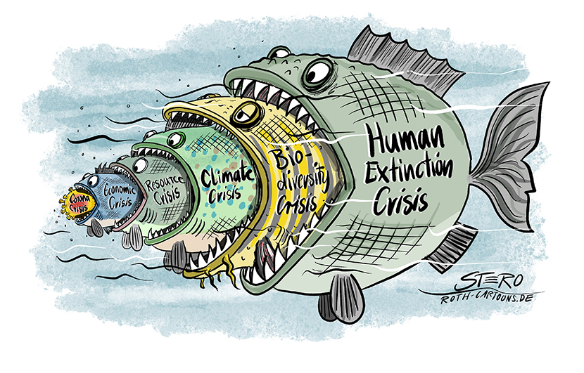 Fish eats Fish. A cartoon where one fish eats another. After the corona crisis could come the economic crisis, then the resource crisis, then the climate crisis, then the loss of biodiversity which then leads to the extinction of the human race (humen extinction).