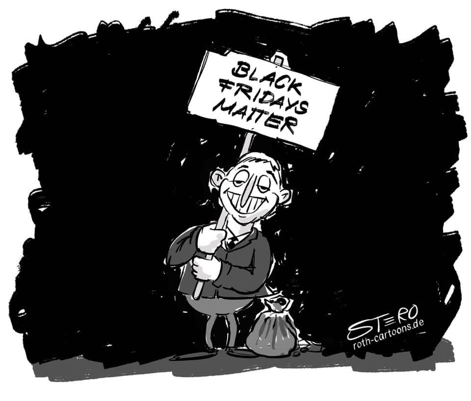 """cartoon-comic-caricature: A man is carrying a sign with the inscription """"Black Fridays Matter"""", next to him is a bag of money. The discrepancy between Black Friday and Black Lives Matter."""