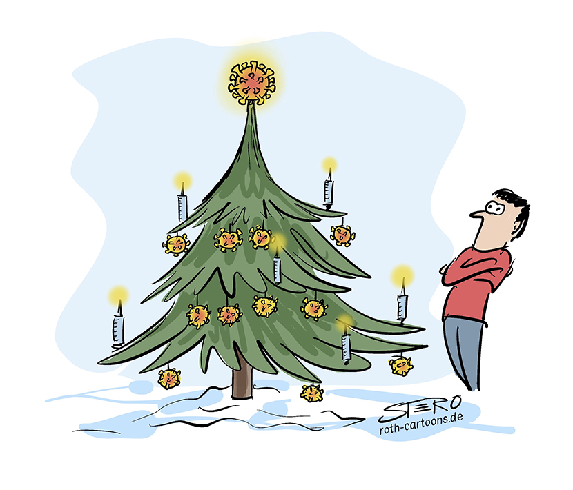 Christmas and Corona cartoon comic: A person stands in front of a decorated Christmas tree. Instead of Christmas tree balls, this tree is decorated with corona viruses and syringes with vaccine.