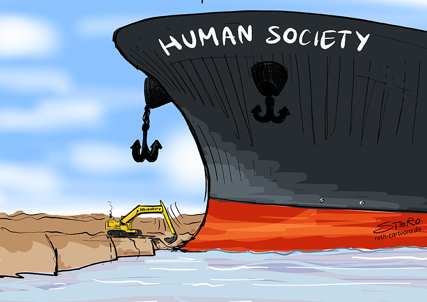 Cartoon about the accident of the Ever Given: The container ship Ever Given has run aground in the Suez Canal and is blocking the Suez Canal. A dredger tries to shovel it free. The event as a symbol for the current society.
