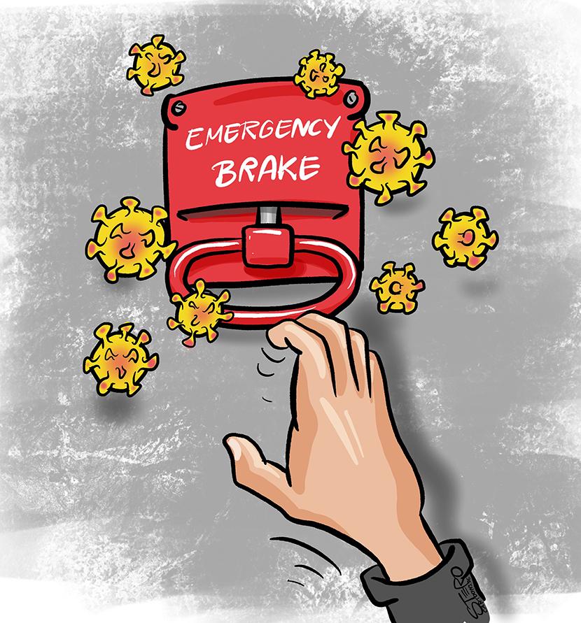 Illustration image cartoon: A hand grabs emergency brake in corona pandemic