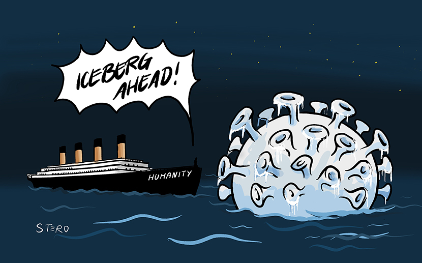 Cartoon: The Titanic with the inscription Humanity is heading for an iceberg in the form of the corona virus. Helmsman shouts: Iceberg ahead!