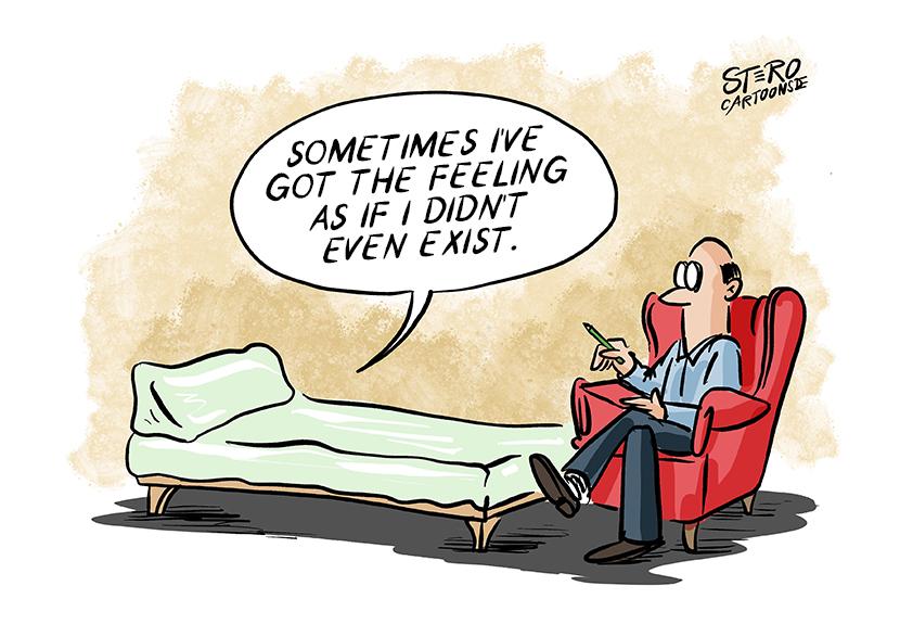 Psychotherapy Cartoon Comic: Sometimes I feel like I don't exist.