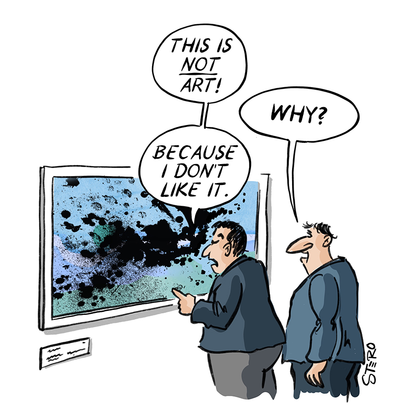 Cartoon on art criticism: Two men in front of a painting: Is it only art if one likes it?