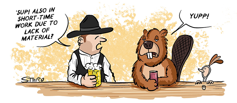 Cartoon comic to shortage of materials in the craft because of Corona. A carpenter and a beaver sit in a bar and complain about lack of wood.